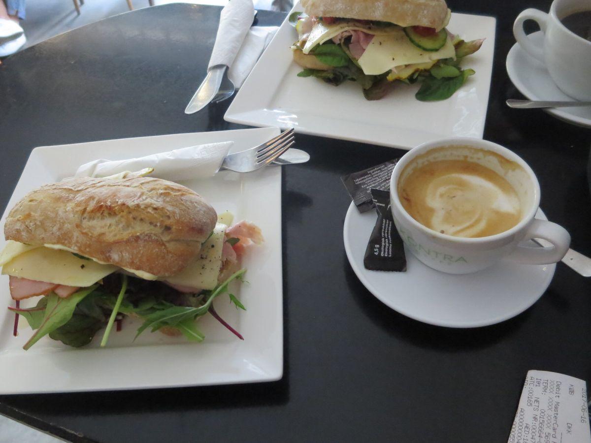 Delicious coffee and sandwiches at Kontra Coffee Copenhagen