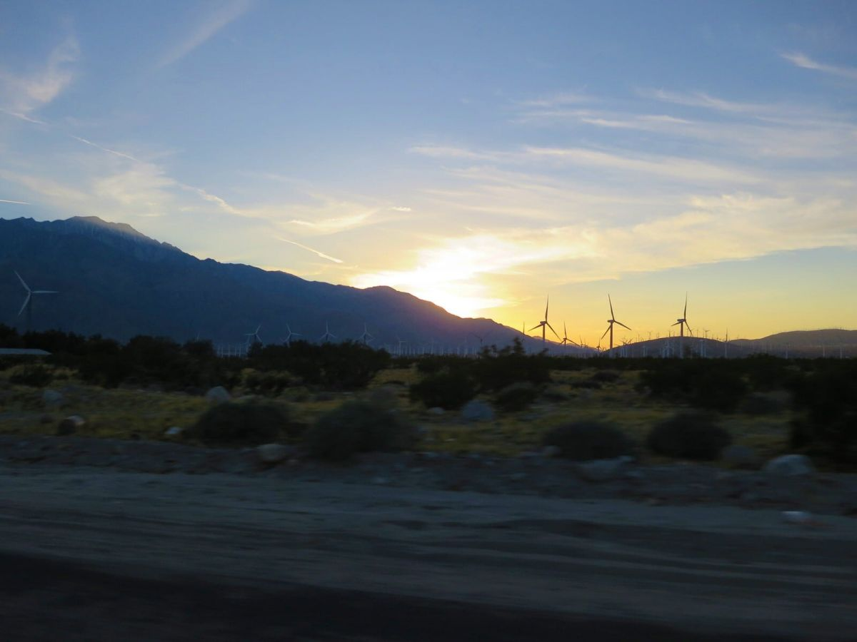 Sunset with windmills outside Palm Springs