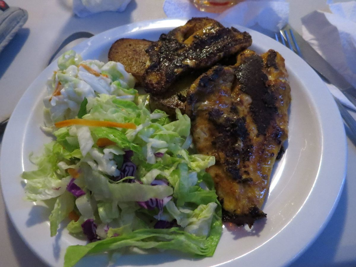 Blackened lionfish at Shakers, Barbados
