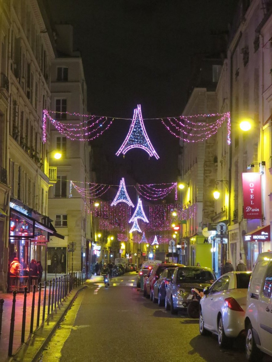 Christmas lights in the Marais neighborhood, Paris