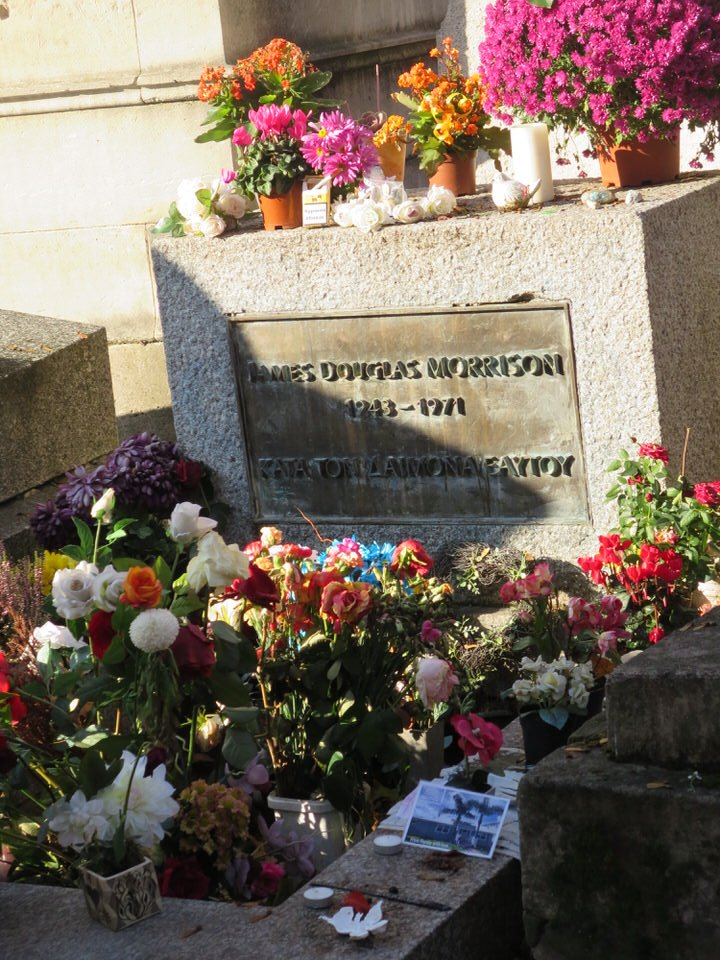 Jim Morrison's tomb at Père Lachaise Cemetery, Paris