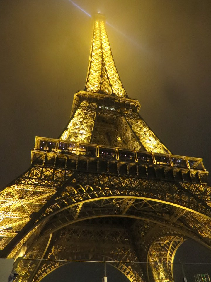 Eiffel Tower at night with regular illumination