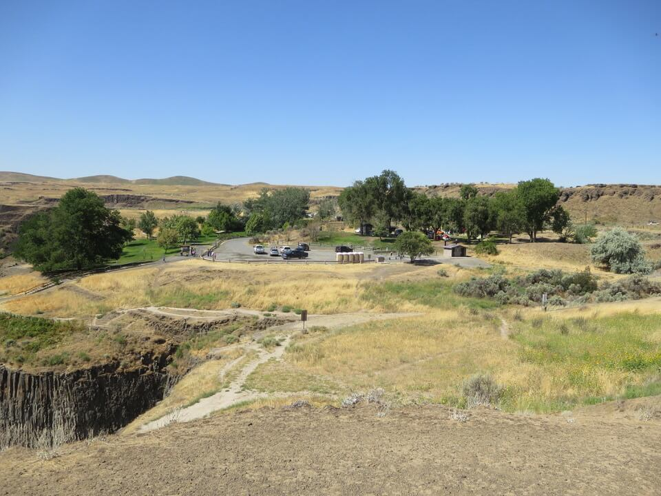 View of parking lot and campground at Palouse Falls