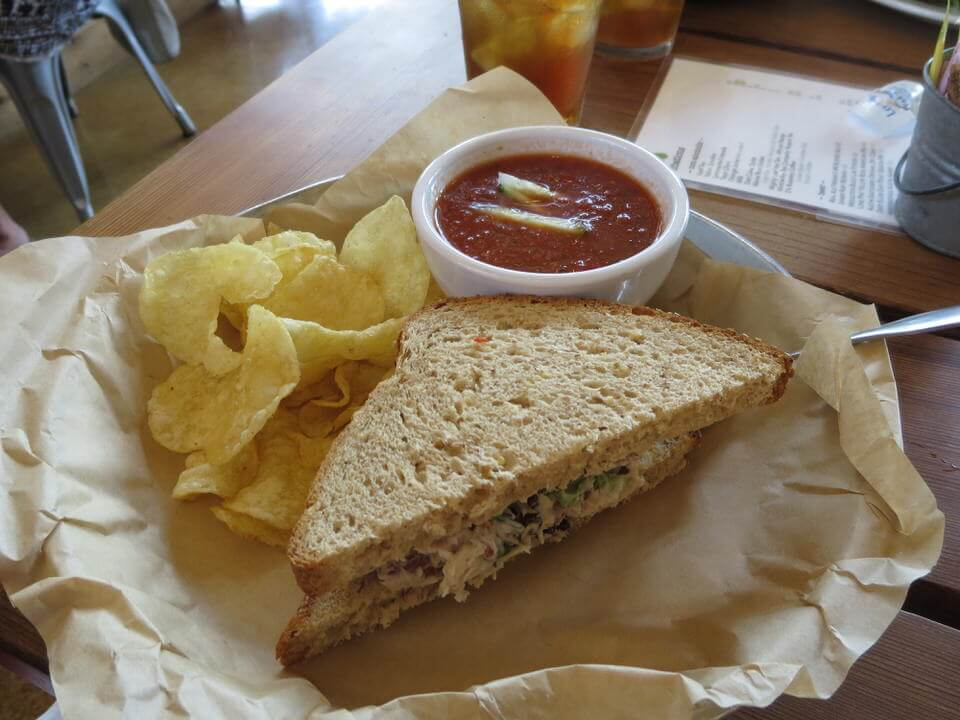 Tuna sandwich and Gazpacho at the Leaning Pear Wimberley