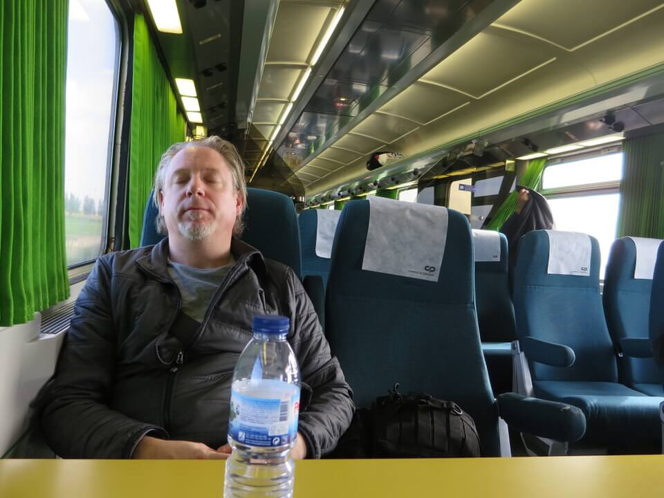Paddy on the train to Evora