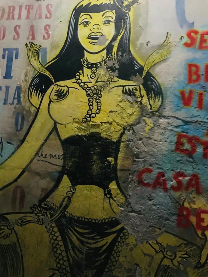 Stairwell art in Pensão Amor, Lisbon